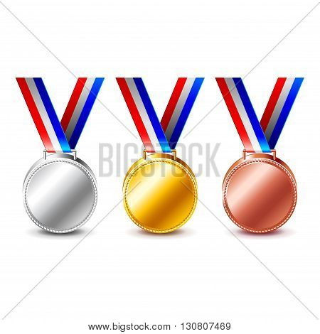 Golden silver and bronze medals isolated on white photo-realistic vector illustration