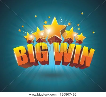 Big Win Gold Sign For Online Casino, Poker, Roulette, Slot Machines, Card Games.