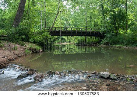 Wooden bridge over the Big Creek Shawnee National Forest Illinois USA