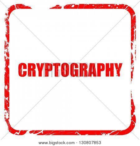 cryptography, red rubber stamp with grunge edges