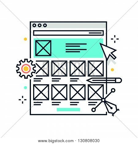 Color Line, Wireframe, Responsive Concept Illustration, Icon