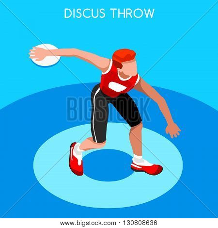 Athletics Discus Throw Summer Games Icon Set.3D Isometric Athlete.Sporting Championship International Competition.Sport Infographic Discus Throw Athletics Vector Illustration
