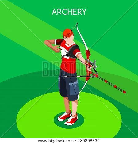 Archery Player Summer Games Icon Set.3D Isometric Archery Player.Sporting Championship International Archery Competition.Sport Infographic Archery Vector Illustration