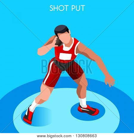Athletics Shot Put Summer Games Icon Set.3D Isometric Athlete.Sporting Championship International Competition.Sport Infographic Shot Put Athletics Vector Illustration