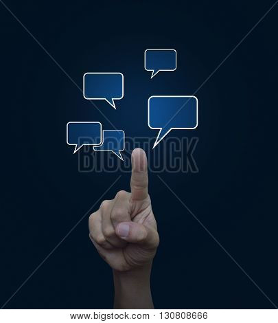 Hand point to social chat sign and speech bubbles on blue background Social network concept