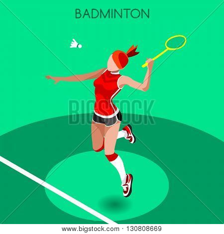 Badminton Player Summer Games Icon Set.3D Isometric Badminton Player.Sporting Championship International Badminton Competition.Sport Infographic Badminton Vector Illustration