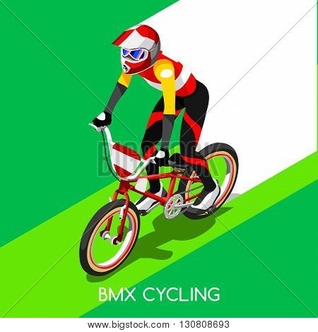 BMX Cyclist Bicyclist Athlete Summer Games Icon Set.BMX Cycling Speed Concept.3D Isometric Sporting Competition BMX Bicycle Race Runner.Sport Infographic Cycling Bike Race Vector Illustration.
