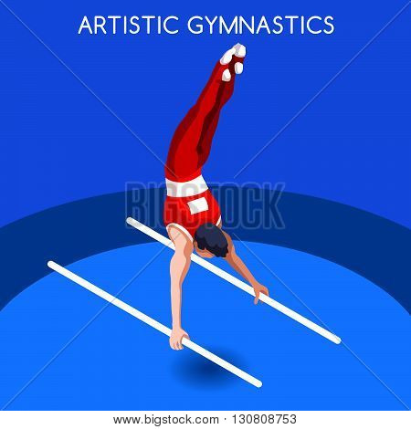 Artistic Gymnastics Parallel Bars Summer Games Icon Set.3D Isometric Gymnast.Sporting Championship International Competition.Sport Infographic Artistic Gymnastics Vector Illustration