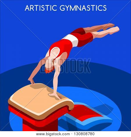 Artistic Gymnastics Vault Summer Games Icon Set.3D Isometric Gymnast.Sporting Championship International Competition.Sport Infographic Artistic Gymnastics Vector Illustration