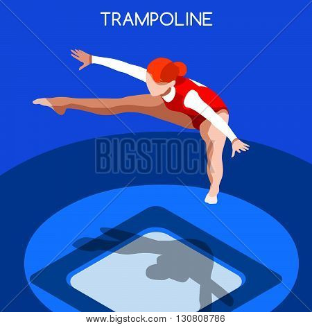 Trampolining Gymnastics Summer Games Icon Set.3D Isometric Gymnast.Sporting Championship International Competition.Sport Infographic Gymnastics Vector Illustration