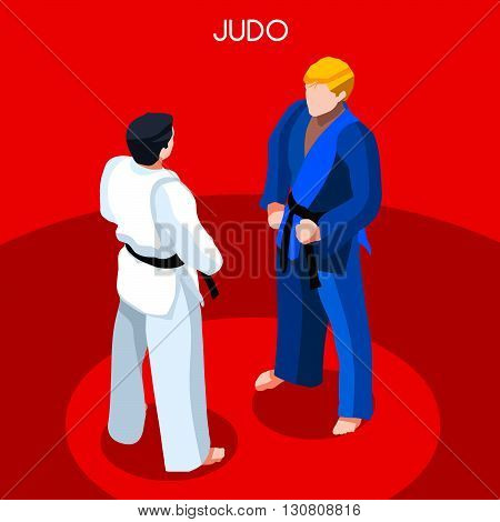 Judo Summer Games Icon Set.3D Isometric Athlete.Sporting Championship International Martial Art Competition.Sport Infographic Judo Vector Illustration