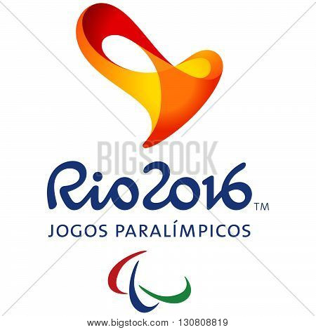 Rio de Janeiro, Brazil March 21, 2016: Official logo of the 2016 Summer Paralympic Games in Rio de Janeiro, Brazil, from September 7 to September 18, 2016. Vector illustration
