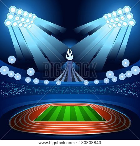 ,olympic, paralympic,Rio,2016, 2016 Stadium Background Summer Games Empty Field Background Nocturnal View Vector Illustration