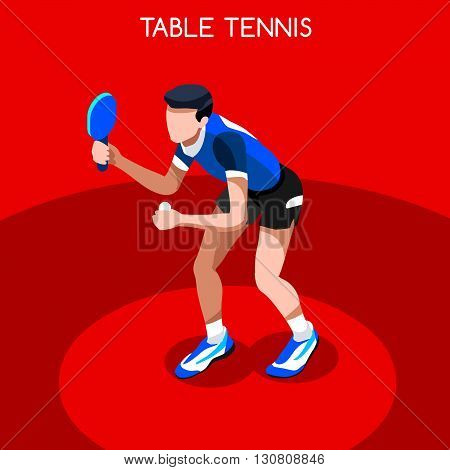 Table Tennis Summer Games Icon Set.3D Isometric Ping Pong Athlete.Sporting Championship International Competition.Sport Infographic Table Tennis Vector Illustration
