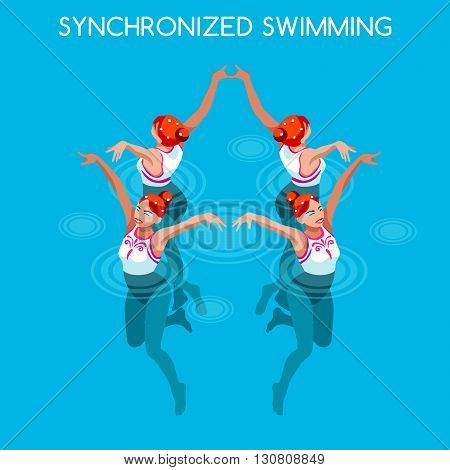 Synchronized Swimming Summer Games Icon Set.3D Isometric Swimmer Team.Water Dance Swimming Sporting International Competition.Sport Infographic Synchronized Swimming Vector Illustration.