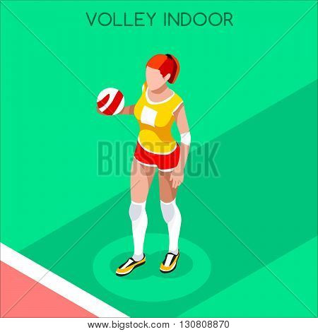 Volleyball Player Summer Games Icon Set.3D Isometric Indoor Volleyball.Sporting Championship International Volley Competition.Sport Infographic Volleyball Vector Illustration