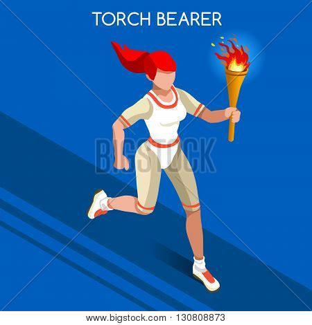 Torchbearer Relay Running Women Summer Games Icon Set.Speed Concept.3D Isometric Athlete.Sporting Competition.Sport Infographic Torchbearer Vector Illustration.