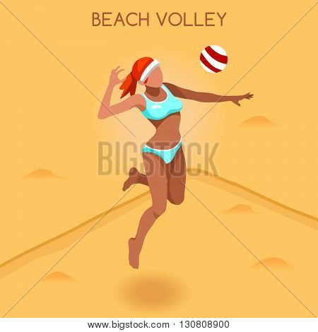 Beach Volley Player Summer Games Icon Set.3D Isometric Beach Volleyball.Sporting Championship International Beach Volley Competition.Sport Infographic Volley Vector Illustration