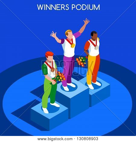 ,olympic, paralympic,Rio,2016, 2016Winner Podium Summer Games Icon Set.Speed Concept.3D Isometric Athlete.Sporting Competition.Sport Infographic Winner Podium Vector Illustration.