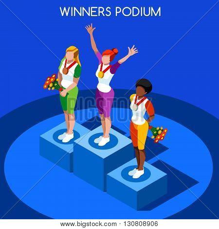 Olympic Rio 2016 Winner Podium Summer Games Icon Set.Speed Concept.3D Isometric Athlete.Sporting Competition.Sport Infographic Winner Podium Vector Illustration.