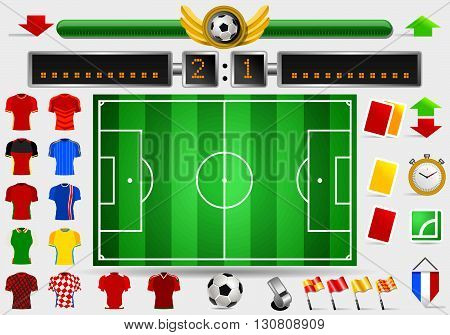 Soccer Field and Football Apparel Jerseys Score Board Point Yellow Card Red Card Whistle Objects International Championship Symbols and Equipment Vector Illustration