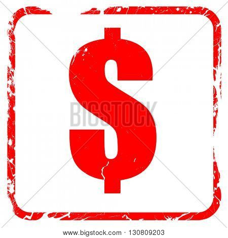 dollar sign, red rubber stamp with grunge edges