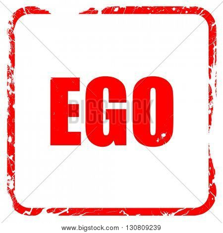 ego, red rubber stamp with grunge edges