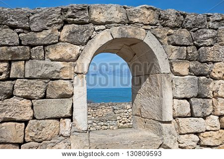 Ruins of ancient fortress wall in the museum of Chersonesos in Sevastopol town