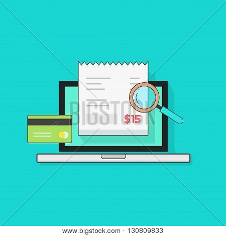 Laptop computer with receipt, credit card, magnifier, concept of bills payment, verify, tax online check, audit, invoice, verification, vector illustration modern design isolated on blue background