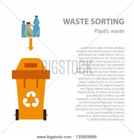 Plastic waste sorting flat concept.  Vector illustration of plastic waste. Plastic waste recycling categories and garbage disposal. Plastic waste types sorting management