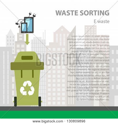 E-waste sorting flat concept.  Vector illustration of e-waste. E- waste recycling categories and garbage disposal.  E-waste types sorting management .