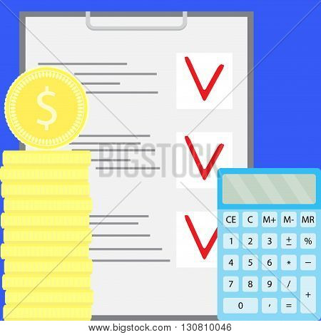 Financial budget economy and counting. Money accounting calculator. Vector flat design illustration