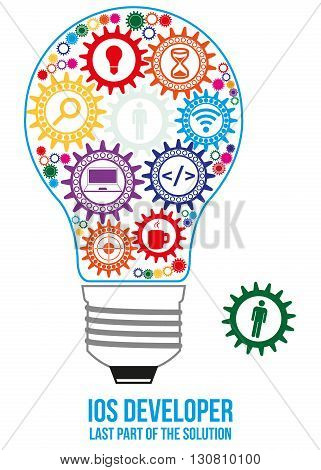 IOS developer design concept. Light bulb composed of interconnected gears with different components of programming. Only last gear is missed - that will connect all of them - last part of solution.