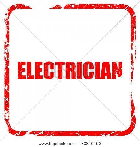 electrician, red rubber stamp with grunge edges