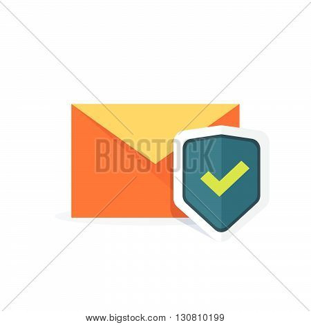 Email security concept, orange e-mail envelope with shield icon, concept of internet mail protection, data protect, safety, secure email, sign flat cartoon design isolated on white