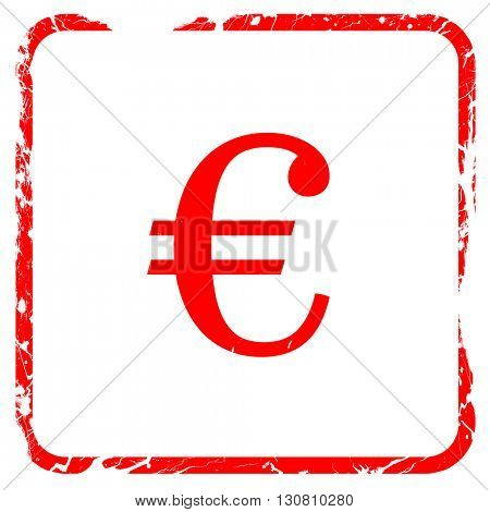 euro sign, red rubber stamp with grunge edges