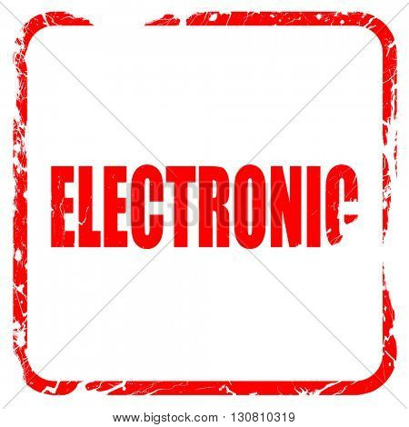 electronic music, red rubber stamp with grunge edges