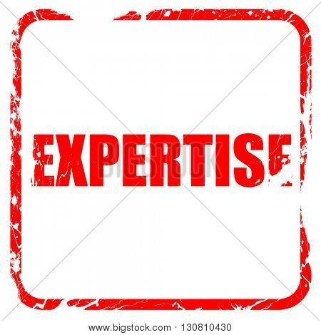 expertise, red rubber stamp with grunge edges