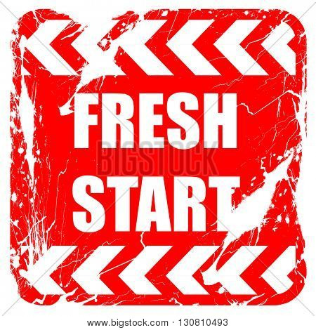Fresh start sign, red rubber stamp with grunge edges