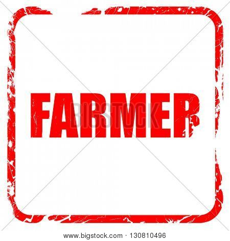 farmer, red rubber stamp with grunge edges