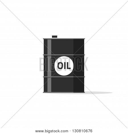 Oil barrel icon, oil tank with oil text emblem, fuel can, chemical container concept simple flat illustration design isolated on white background image