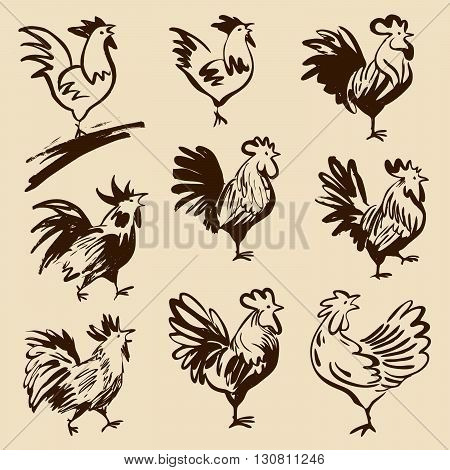 Roosters in different poses. Vector silhouettes roosters. Hand drawn cocks.