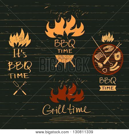 Set vector lettering hand drawn logos with fire for barbecue party. Illustration with sparks of fire for grill time party.  Print restaurant menu, posters, banner.