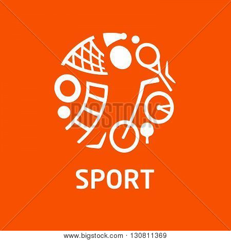 Vector logo for childrens sports school, shop for sports, competition sports. Silhouettes of a man sporting equipment. Various sports.