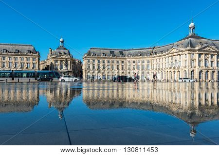 Mirror Fountain In Bordeaux, France