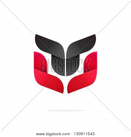 Abstract coat of arms strong vector illustration, beauty gradient red black logo concept, tech symbol, trend shape, modern brand design, geometric animal, robot face isolated on white background