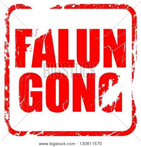 Falun gong, red rubber stamp with grunge edges