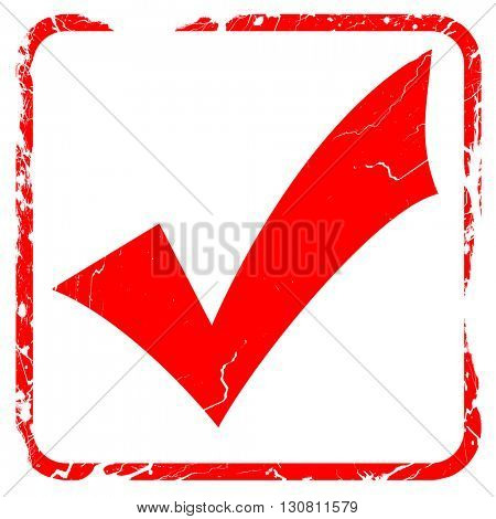 Approved tick with smooth lines, red rubber stamp with grunge ed