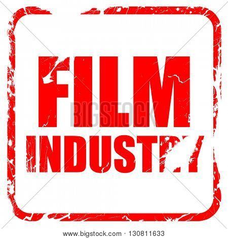 film industry, red rubber stamp with grunge edges