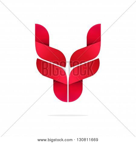 Bull head logo symbol, bull horns icon, ox, breeding cattle logotype, red yak, cow, wolf, dragon gradient emblem modern brand, identity vector illustration design isolated white background